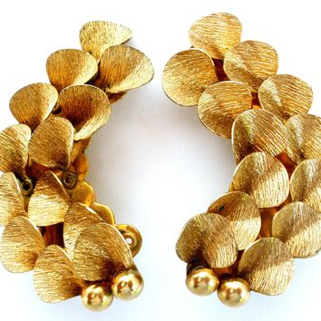 Large Gold Tone Clip On Earrings Vintage