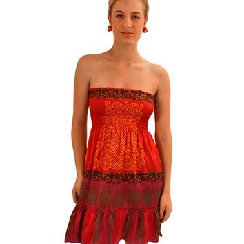 Hale Bob Red Posh Palms Strapless Smocked Dress
