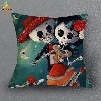 1 Pcs 44*44cm Sugar Skull Cushions Linen Cushion Cover Creative Day of Dead Pillow For Living Room Bed Room