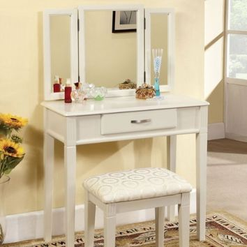 247SHOPATHOME Potterville White Finish Vanity Table Set