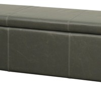 Sofia Bonded Leather Storage Ottoman Brown Legs, Vintage Gray