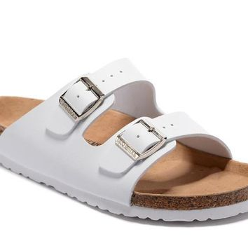 Birkenstock Summer Fashion Leather Cork Flats Beach Lovers Slippers Casual Sandals For Women Men Couples Slippers All White