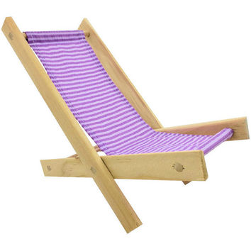 Toy Wooden Folding beach Chair, lavender & white stripe fabric