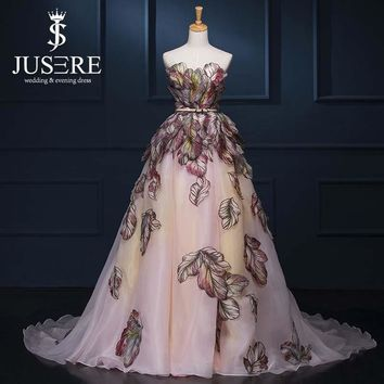 JUSERE 2017 Pattern Appliques Ball Gown  Off Shoulder Luxury Train A line Women Formal Red Carpet Evening Dress Prom Dress