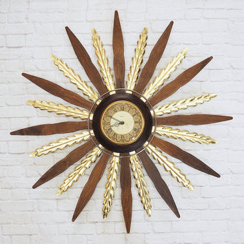 Mid Century Wood and Brass Starburst Clock By UNITED | Vintage Atomic Wall Clock | Quartz Movement