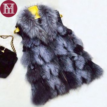 2017 Brand  Winter fashion lady fur vest genuine silver fox fur jacket natural fur clothing brand fur coat for female