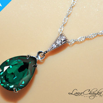 Wedding Bridesmaids Gift Necklace Swarovski Emerald Green Rhinestone 925 Sterling Silver Chain Cubic Zirconia FREE US Shipping