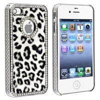Snap on Case Compatible with Apple iPhone 4 / 4S , Grey Leopard with Diamond Circle