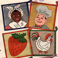 Vintage Simplicity 4518 Embroidery and Applique Transfer Uncut and Unused Potholders Mammy Chef Strawberry Rooster and Teapot