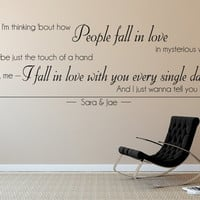 Ed Sheeran - Thinking Out Loud Lyrics Wall Stickers.  Personalised with optional date and/or name of your choice