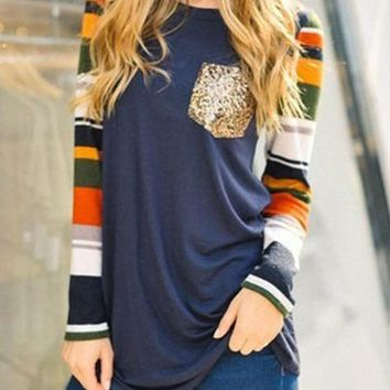 Blue Patchwork Sequin Pockets Long Sleeve Round Neck T-Shirt