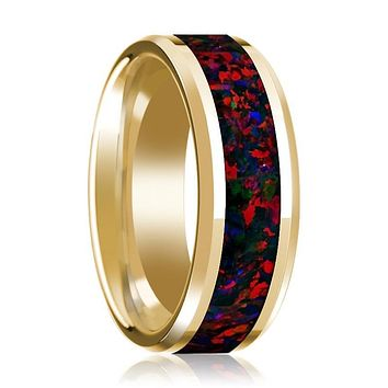 Mens Wedding Band 14K Yellow Gold Inlaid with Black and Red Opal Polished Design Beveled Edge