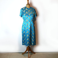 Vintage original 1970s teal and gold Chinese embossed silk brocade dress