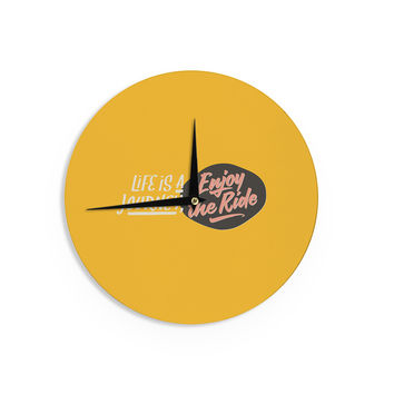 "Juan Paolo ""Enjoy The Ride"" Yellow Vintage Wall Clock"