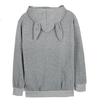 Sweet Women Rabbit Ear Hooded Tops Solid Long Loose Pullovers Hoodies