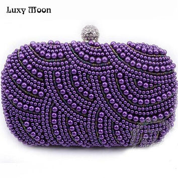 New 2016 purple pearls evening bags blue black grey beaded clutch bag wedding bridal clutches party dinner purse chains handbag