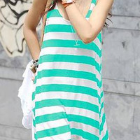 Green and White Striped Sleeveless Midi Dress