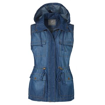 LE3NO Womens Anorak Military Tencel Sleeveless Drawstring Denim Vest with Pockets