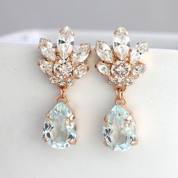 Bridal Chandeliers, Aquamarine Chandelier, Blue Sky Earrings, Bridal Earrings, Rose Gold Bridal Earrings, Bridal light Blue Drop Earrings.