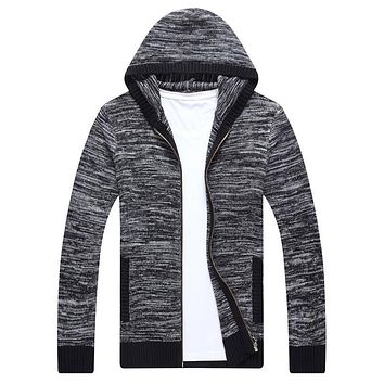 Men Casual Hoodies Long Sleeve Sweatshirt Solid Color Pullover Coat Autumn Winter Knitted Cardigan Clothes