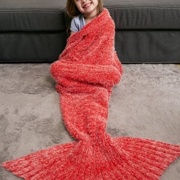 Faux Mohair Crochet Knitted Mermaid Blanket Throw For Kids