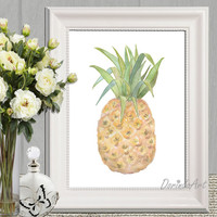 Pineapple print Watercolor pineapple printable Yellow Kitchen decor Pineapple wall art Pineapple party 5x7 8x10 11x14 16x20 INSTANT DOWNLOAD