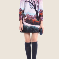 Deer Tree Print Sleeve Zipper Back Shift Dress