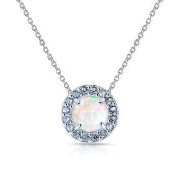 Round Halo Simulated White Opal & Tanzanite Necklace in Sterling Silver
