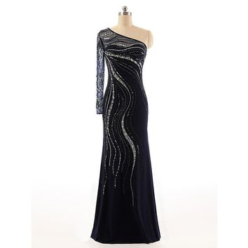 Evening Party Dress Royal Blue Color Tulle Crystal Party Occasion Formal Long Evening Dress