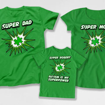 Autism Hero Shirt Matching Set Autism Dad T Shirt Autistic Kids Autism Mom Gifts Awareness Autism Is My Superpower Bodysuit DN-4(25-32-39)