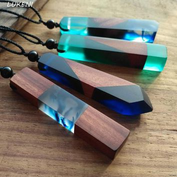 Women Handmade Vintage Resin Wood Necklaces with Pendants