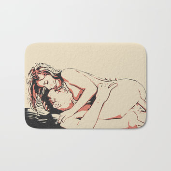 Adult! NSFW! Couple sex, hot girl erotic ride, sexy woman naughty nude, kinky bedroom games Bath Mat by Casemiro Arts - Peter Reiss