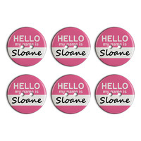 Sloane Hello My Name Is Plastic Resin Button Set of 6