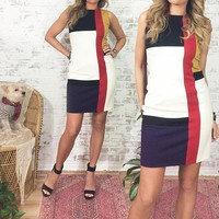 Vintage 1980's Colorblock Mod Dress || Modrian Inspired || Size 4 To 6