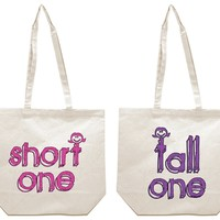 Short One and Tall One Best Friends Girl BFFS Canvas Tote Bag