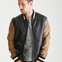 Colorblocked Faux Leather Varsity Jacket