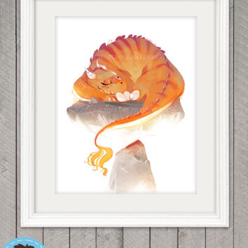 Dragon Poster Print, Children's Wall Art, 8.5 x 11 , Room Decor, Original Illustration, Perfect for Birthday and Holiday Gift, Cute