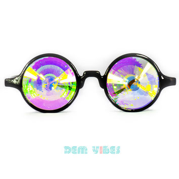 Black Festival Kaleidoscope Glasses Rainbow Lens