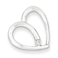 Diamond Heart Pendant in Sterling Silver - Round Brilliant Shape - Compelling