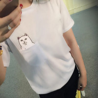 Summer funny best friends middle finger cats t shirt women Street dance tee campus crop top poleras de mujer feminino