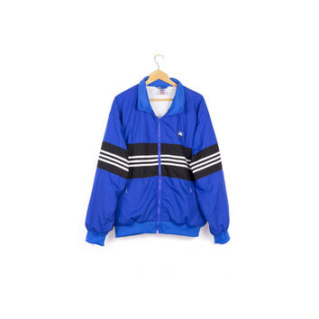 vintage 90s ADIDAS windbreaker jacket / 1990s athletic outerwear / retro hip hop / stripes / mens M - L