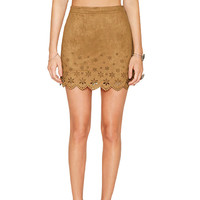 Faux Suede Khaki Mini Skirt with Floral Pattern Details