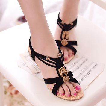 Women Sandals Wedge 2017 Women Summer Sandals String Bead Ladies Beach Shoes Black