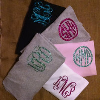 Circle pocket glitter monogram long sleeve shirt