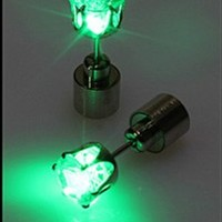 Green 1pc Light Up Led Earring Ear Stud Dance Party Accessories (not 1 pair) DDStore