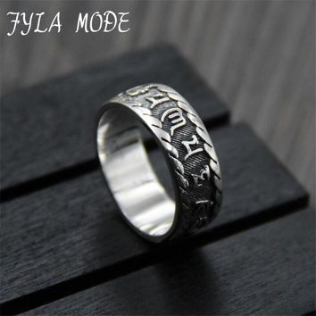 FYLA MODE Om Mani Padme Hum Rings For Men Antique Thai Silver Ring 7.10MM S925 Sterling Sillver Jewelry For Male 5.60g  XJF031