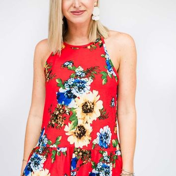 Better Half Peplum Floral Tank in Red