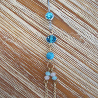 Belly Button Ring - Body Jewelry - Gold Beaded Dangly Charm with Lt Blue Gem Stone Belly Button Ring