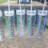 Bridesmaid Tumblers, Bridesmaid Skinny Tumblers, Bridesmaid Gift, Bridal Party Gift, Personalized Bridesmaid Tumblers