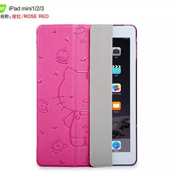Cute lovely cartoon  Ultra thin hello kitty cover case for apple 7.9 ipad mini 1 2 3  smart cover case for ipad mini  retina